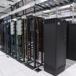 Image of Green Data Center Computer Servers Equipment Interior